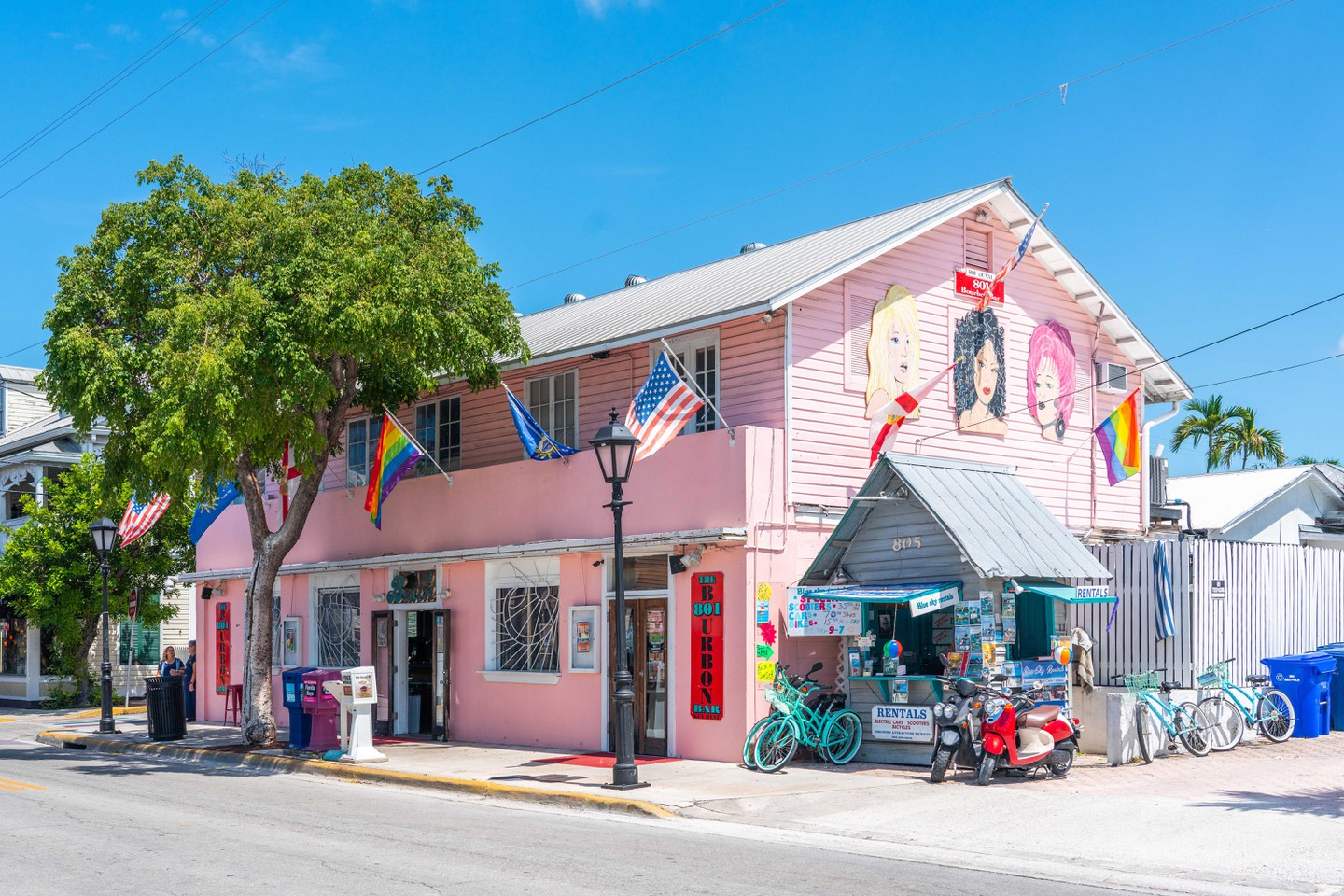 Key West, Florida, USA - September 12, 2019: Quiet Street In Key West, Florida USA